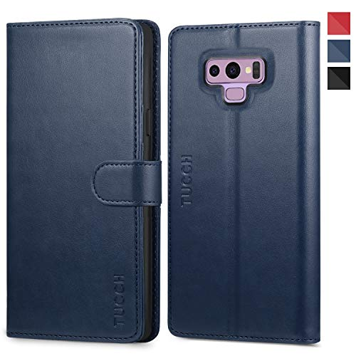 Galaxy Note 9 Case, TUCCH Note 9 Wallet Case, PU Leather Wallet Case [Credit Card Holder] [Flip] [Kickstand] [TPU Interior Case] [Magnetic Closure] Compatible with Galaxy Note 9, Blue