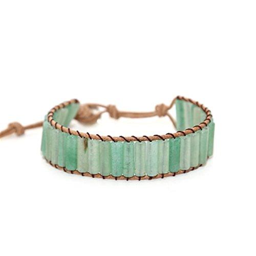 NENGWENWU Boho Cylinder Bead Single Wrap Leather Wrap Bracelet Natural Stone Green Jewelry