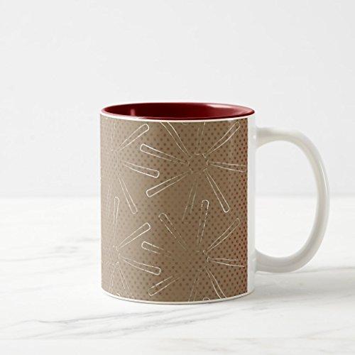 Zazzle Bbbb Brown Bats Baseball Sports Pattern Grunge Bac Coffee Mug, Maroon Two-Tone Mug 11 ()