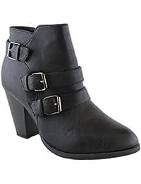Forever Women's Buckle Strap Block Heel Ankle Booties, Black 6
