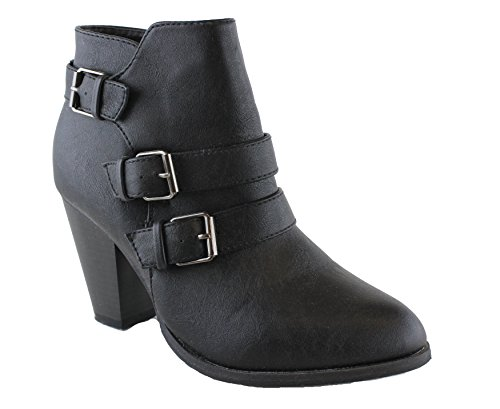 Forever Women's Buckle Strap Block Heel Ankle Booties, Black IMSU 8.5
