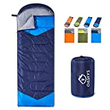 oaskys Camping Sleeping Bag - 3 Season Warm & Cool Weather - Summer, Spring, Fall, Lightweight, Waterproof for Adults & Kids - Camping Gear Equipment, Traveling, and Outdoors (Navy Blue, 7530inch)