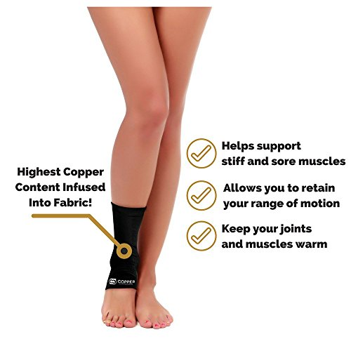 Copper Compression Recovery Ankle Sleeve - GUARANTEED Highest Copper Content #1 Infused Fit Ankle Brace/Wrap/Sock/Stabilizer For Men And Women. Wear To Support Stiff And Sore Muscles And Joints by Copper Compression (Image #6)