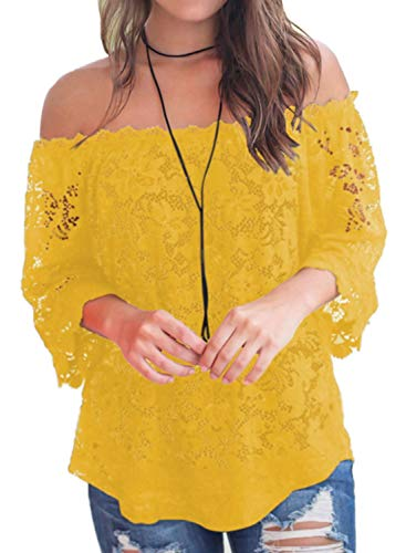 - Bloggerlove Women Off The Shoulder Tops Casual Lace Shirt Loose Blouse Yellow L