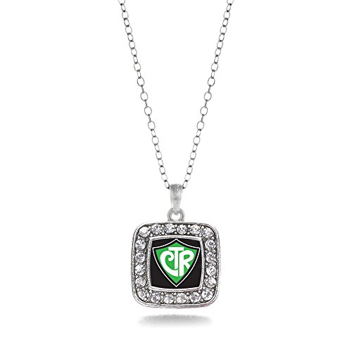 CTR Charm Classic Silver Plated Square Crystal (Silver Plated Square Necklace)