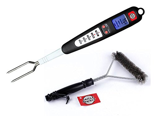 BBQ Meat Thermometer Fork & Gas Grill Brush Cleaner Kit w/Instant Electric Readout Probe