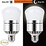 Dusk to Dawn Light Bulb Sensor Smart LED Outdoor Lighting Bulbs Lamp 12W E26/E27 Automatic On Off Indoor Outdoor Yard Porch Patio Garden (Cold White, 2 Pack)