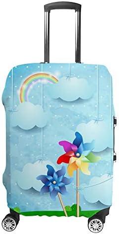 スーツケースカバー トラベルケース 荷物カバー 弾性素材 傷を防ぐ ほこりや汚れを防ぐ 個性 出張 男性と女性風車と掛かる雲のある風景します