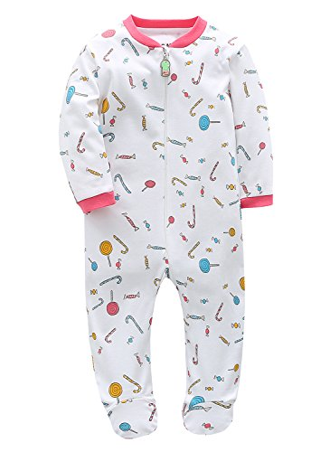 Marquebaby 6 Months Lollipop Baby Girls' Footed Pajama - 100% Cotton Zip Front Sleep and Play Sleeper (Diaper Lollipop)