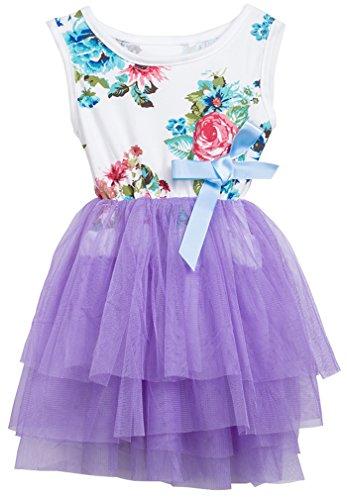 Niyage Little Girls Sleeveless Floral Princess Dress Tulle