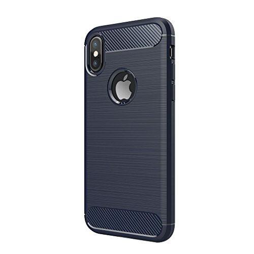 Funda iPhone X - Moda Delgado TPU Cáscara Prueba de Choques Suave Cubierta Posterior Carcasa y Fibra de Carbono Diseño Funda para iPhone X - Gris Marino Azul