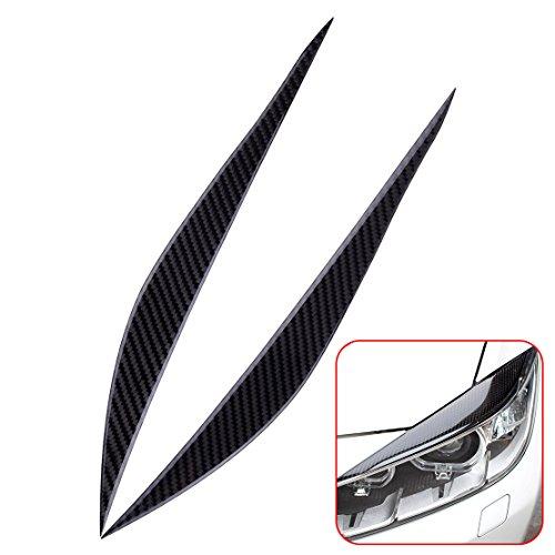 Carbon Eyelids (Daphot-Store - 2Pcs Carbon Fiber Headlights Eyebrows Eyelids Front Headlamp Eyebrow Cover Trim for BMW 3 Series F30 2013 2014-16)