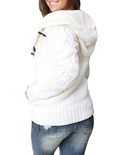Da Green Ardiglione Ad A Cardigan Felicipp Lunghe Fibbia Caldo color S Con White Invernale Size Cappuccio Maglia Lavorato Donna Maniche SvpxapOw