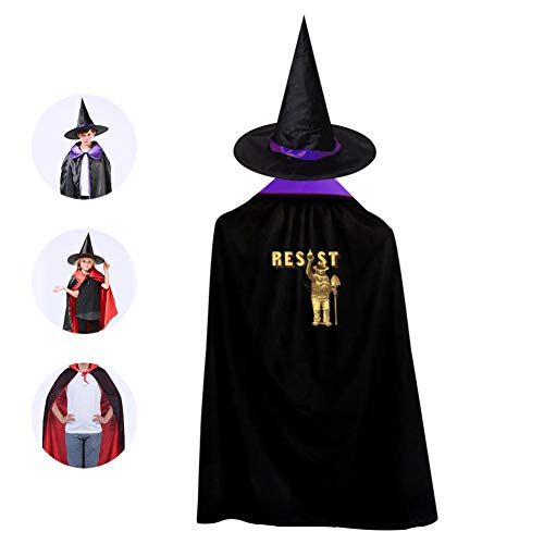 Yuqickng Li Smokey The Bear Resist Kids Reversible Halloween Cloak Cape Costume with Witch Hat Purple -