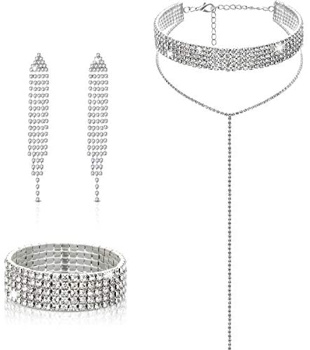 Hicarer Diamond Tassel Jewelry Set Rhinestone Stretch Bracelet Long Chandelier Tassel Dangle Earrings Silver Plated Gothic Long Choker Tassel Necklaces