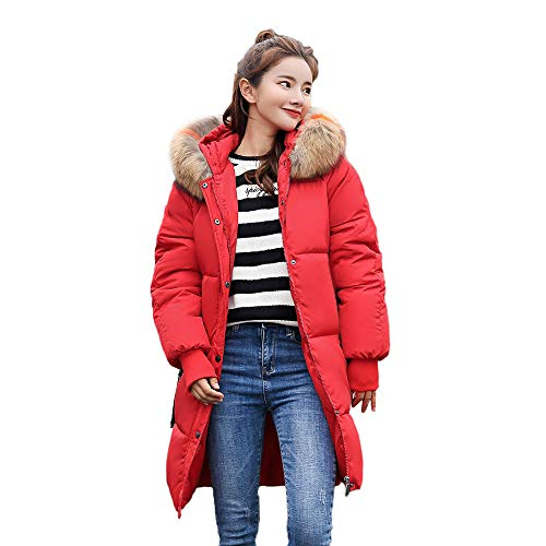 HYIRI Women Winter Warm Hooded Thick Slim Jacket Long Overcoat -