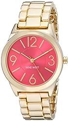 Nine West Women's NW/1662PKGB Pink Sunray Dial Gold-Tone Bracelet Watch