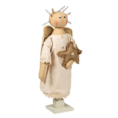 Doll Angel Primitive (Honey In Me Vintage Spindle Angel 21 inch Plush and Wood Doll Figurine Decoration)