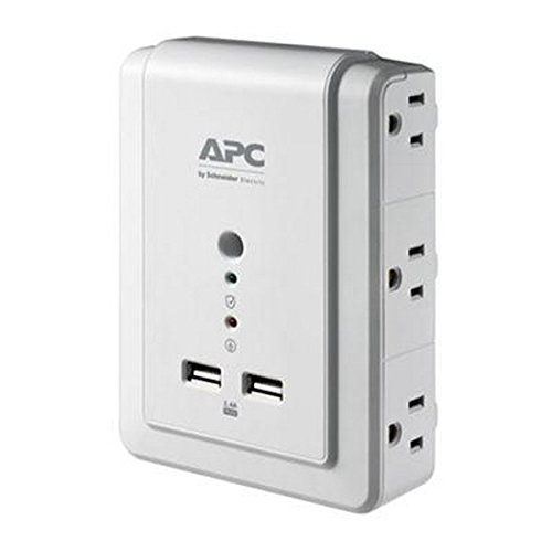 APC 6-Outlet Wall Surge Protector with USB Charging Ports, SurgeArrest Essential (Outlet Wall Mount Surge Protector)