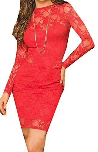 Fulok Womens Lace Sexy Hollow Solid Bodycon Elegant Dress red S