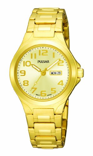 Pulsar Women's PXU036 Functional Gold-Tone Champagne Dial Day Date Watch
