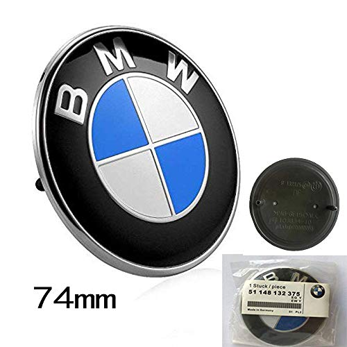 (Haocc Loud 74mm BMW 2 Pin Replacement Badge Emblem Logo for BMW E46 E90 E82 1 3 TRUNK EMBLEM 1pc)