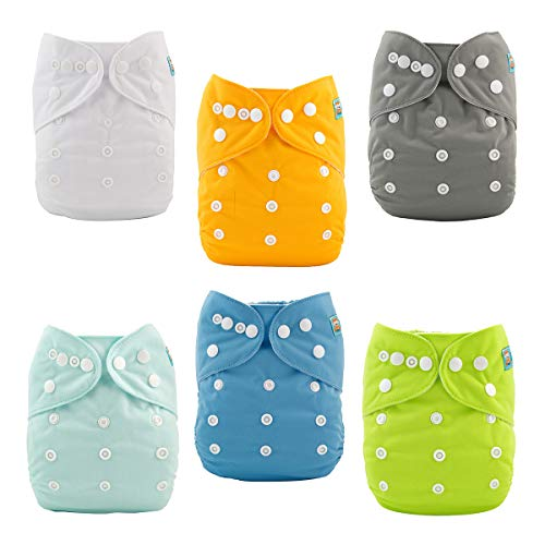 ALVABABY Baby Cloth Diapers One Size Adjustable Washable Reusable for Baby Girls and Boys 6 Pack with 12 Inserts 6BM98 from ALVA