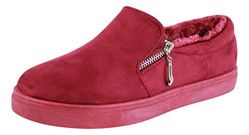 New Womens Flat Casual Sneakers Zip Trainers Comfy Faux Fur Pumps Low Top Shoes Wine Red umdScoN