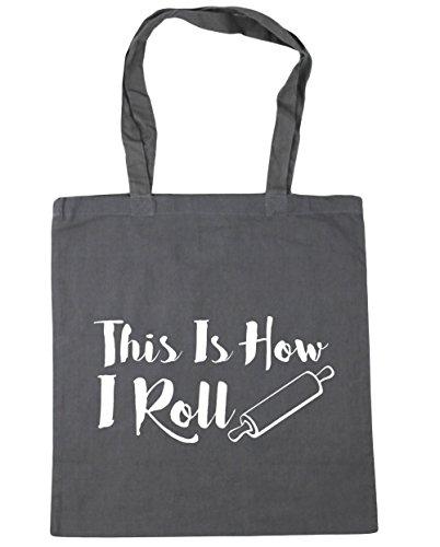 HippoWarehouse THIS IS How I Roll Tote Compras Bolsa de playa 42cm x38cm, 10litros gris grafito