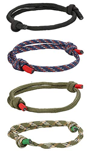 FIBO STEEL 4 Pcs Braided Nautical Bracelets for Men Handmade Navy Rope String Cool Bracelet Adjustable ()