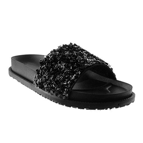 Angkorly Damen Schuhe Mule Sandalen - Slip-on - Step - Plateauschuhe - Strass - Glänzende Keilabsatz High Heel 4.5 cm Schwarz