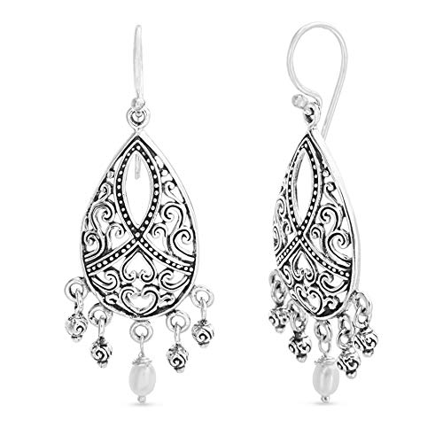 WILLOWBIRD Freshwater Pearl Teardrop Chandelier French Wire Earrings for Women In Oxidized 925 Sterling Silver