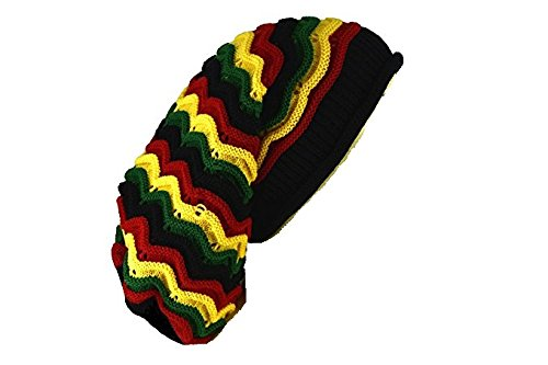 Reggae Baggie Beanie Hat Rasta Colors (Rasta Wave Stripe)