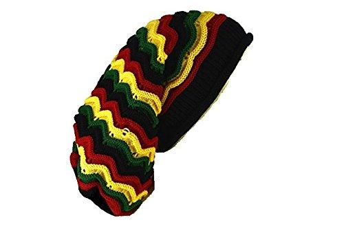 (Reggae Baggie Beanie Hat Rasta Colors (Rasta Wave Stripe))