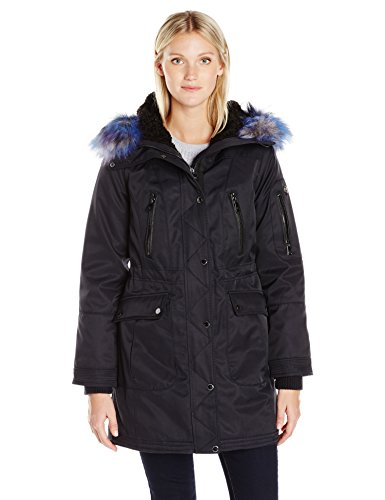 1 Madison Women's Bonded Cotton Parka with Multi Color Faux Fox Trimmed Hood, Navy, Large
