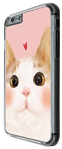 1126 - Cute Cat Face Love Heart Design For iphone 5 5S Fashion Trend CASE Back COVER Plastic&Thin Metal -Clear