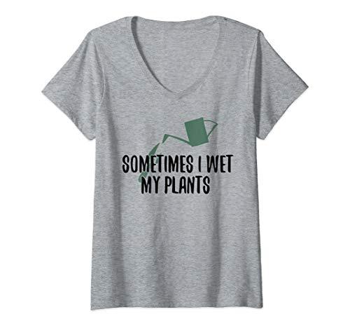 Womens Sometimes I Wet My Plants Funny Gardening  V-Neck -