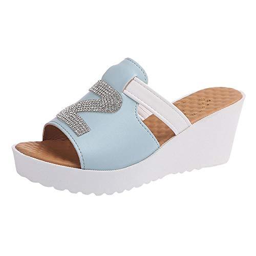 Chancletas Mujer Verano Plataformas Logobeing Cristalino Plana 2019 Azul Sky Sandalias Deslizamiento Gruesas Plataforma Zapatos De Casual En IxgIwRq