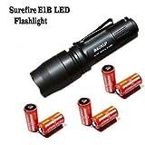 SureFire E1B Backup E1B-BK-WH LED Flashlight Bundle in Black With 6 Batteries