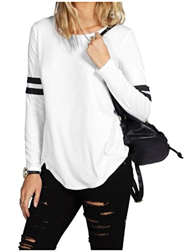 Womens Long Sleeve Stitch - Abetteric Womens Autumn Long Sleeve 2-Stripes Color Stitch Blouse Tunic Tops White L