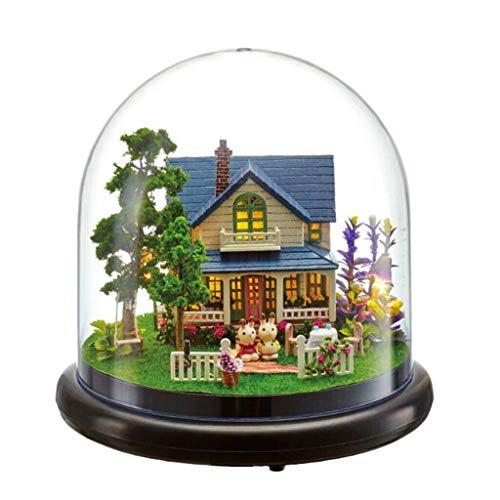 NATFUR Mini DIY Dollhouse Miniature Doll Manor Furniture Kit with Glass Dustproof