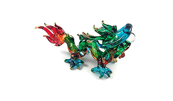 MINIATURE DRAGON GLASS BLOWN CLEAR GLASS ART LUCKY DRAGON FIGURINE ANIMAL