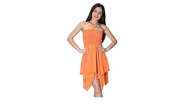 Bayside Barcelona Vestido de tubo de color sólido naranja sexy playa halter vestido: Amazon.es: Electrónica