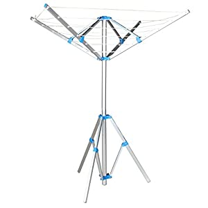 Jusdreen Retractable Tri-pod Drying Rack Foldable Umbrella Clothesline 6-Line PVC&High-strength wire Line Silver&Blue - 52.5 feet