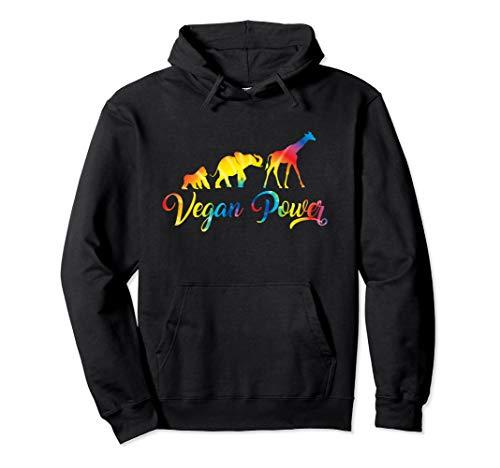 (Vegan Power Hoodie Vegetarian Jungle Animals Tie Dye Graphic)