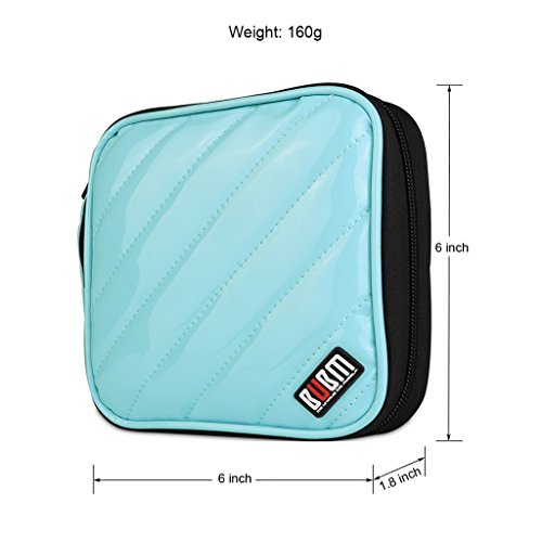 BUBM CD Cases PU Cover 32 Disc CD DVD Wallet Storage Organizer Travel Bag, CD / DVD Bag (Light Blue)