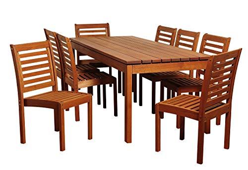 Amazonia Hawaii 9-Piece Patio Rectangular Dining Set | Eucalyptus Wood | Ideal...
