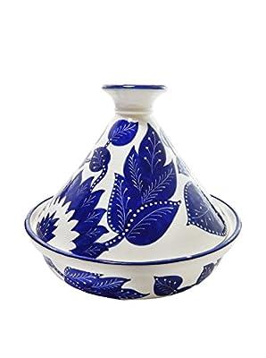 """Le Souk Ceramique Jinane Cookable Tagine, 12"""", Cobalt Blue/White"""