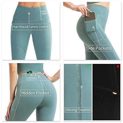 EUSIX High Waist Yoga Pants with Pockets for Women Tummy Control,Workout 4-Way Stretch Non See-Through Yoga Leggings Mint Green M