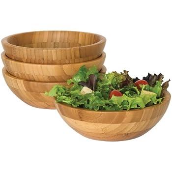 Lipper International 8203 4 Bamboo Wood Salad Bowls, Small, 7